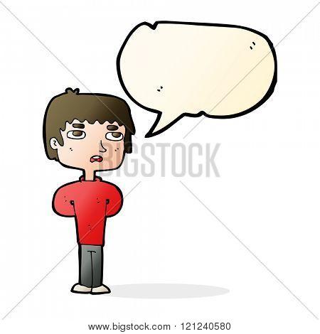cartoon unhappy man with speech bubble