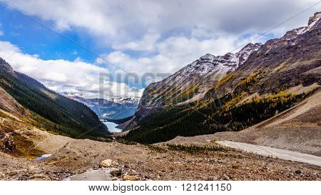 Lake Louise seen from the trail to the Plain of Six Glaciers