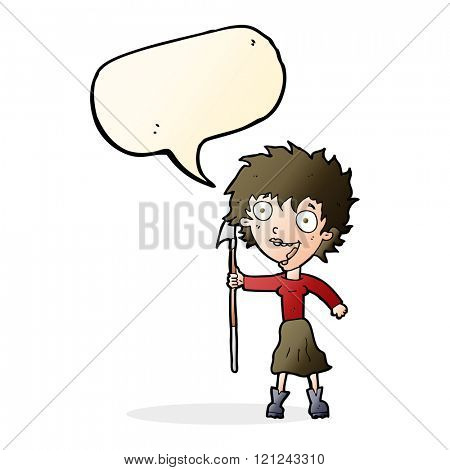 cartoon crazy woman with spear with speech bubble
