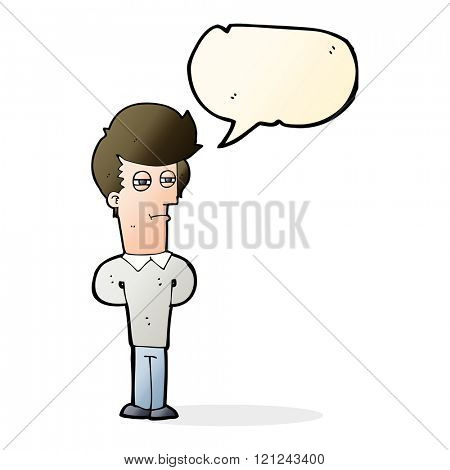 cartoon jaded man with speech bubble