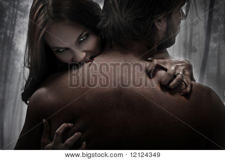Woman vampire bite