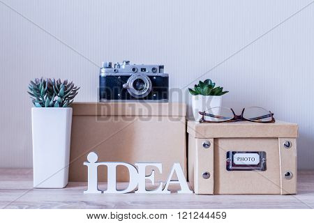 Household Set Of Retro Camera And Boxes