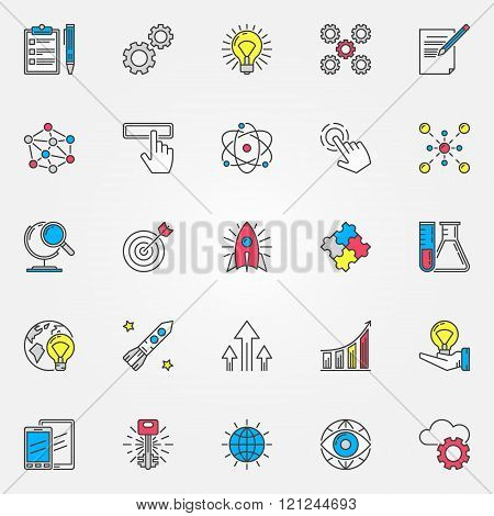 Colorful innovation icons set