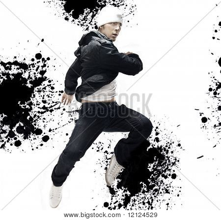 Hip Hop dancer jumping, over abstract splash background