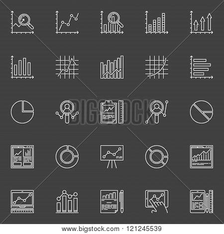 Data analysis white icons set