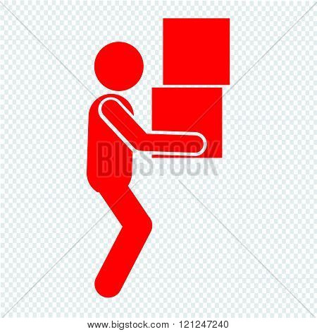 Man Moving Box Pictogram Icon Illustration Design