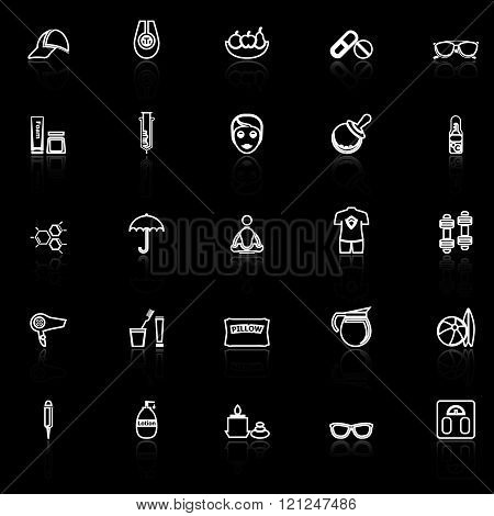 Facial and body treatment line icons with reflect on black stock vector