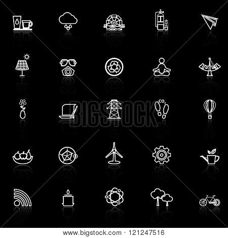 Clean concept line icons with reflect on black stock vector
