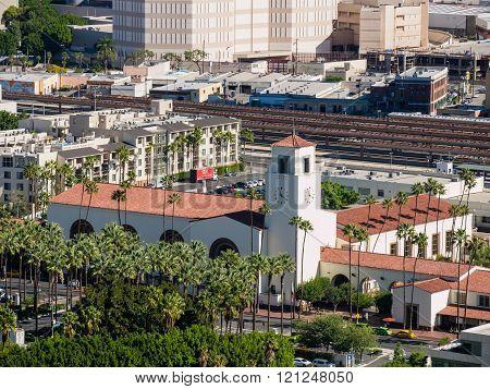 LOS ANGELES, NOV 7: Aerial View of union station at Los Angeles downtown on NOV 7, 2014 at Los Angeles, California.