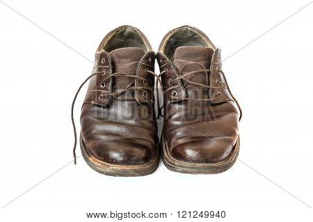 Men's Old Boots On White Background