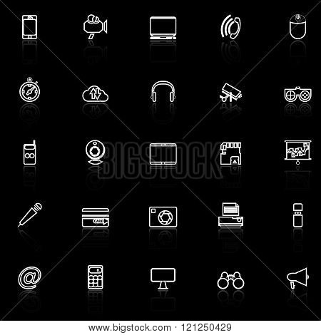 Gadget line icons with reflect on black stock vector