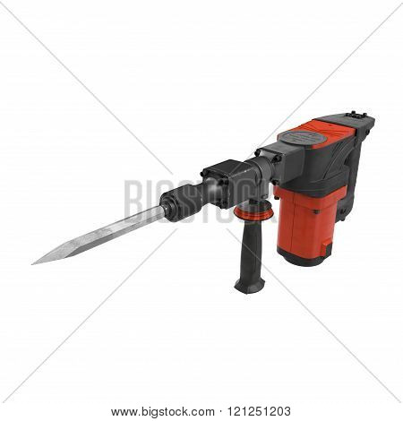 Electric Demolition Jack Hammer on White Background