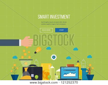 Concept for smart investment, finance, banking, strategic management