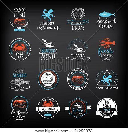 Seafood menu and badges design elements.