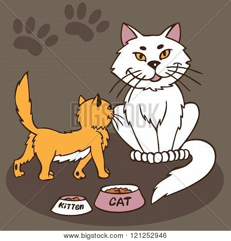 Cat And Kitten With Bowl Of Food