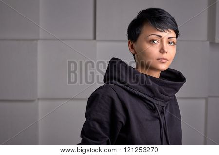 Young Black Sport Wear Girl On White Cube Background