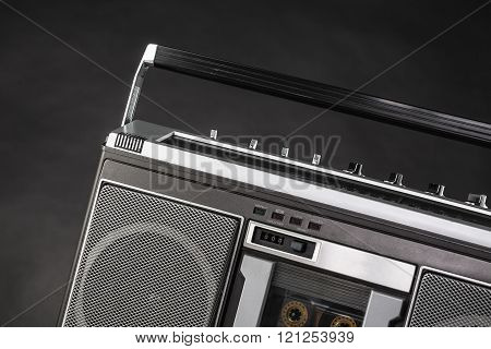 Vintage 1980s Silver radio boom box, studio isolated