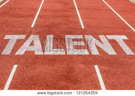 Talent written on running track