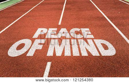 Peace of Mind written on running track