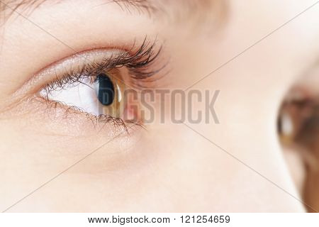 young female hazel eye with contact lens