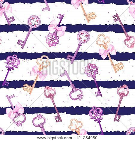 Purple Gothic Keys With Ribbon Bows Navy Striped Seamless Vector Print