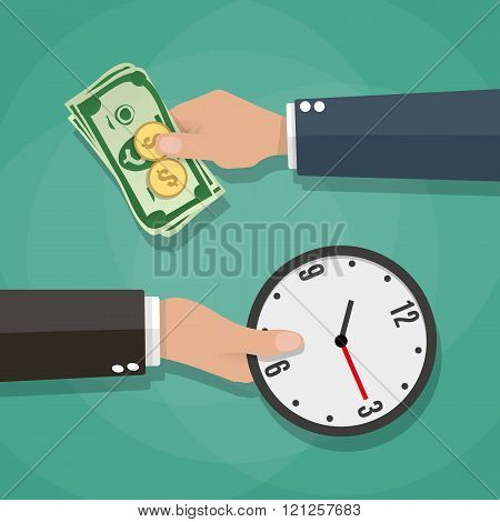 Two cartoon businessman hands cash and clocks
