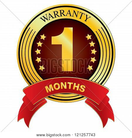 Warranty for One Months Design isolated on white background. Vector Warranty for Months.