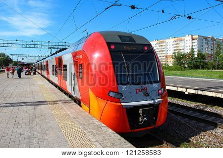 Novgorod, RUSSIA - May 30 2015, High speed electric train Siemens Desiro RUS