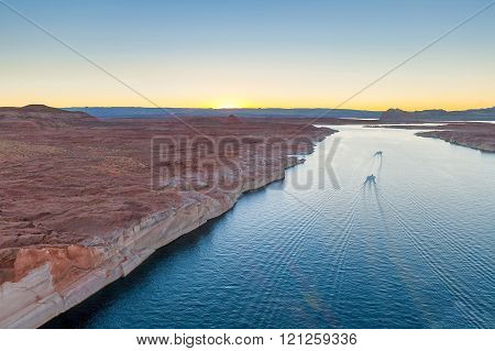 Top View Of Lake Powell And Glen Canyon In Arizona