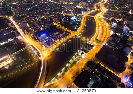 Beautiful night view of Ho Chi Minh cityscape SaiGon