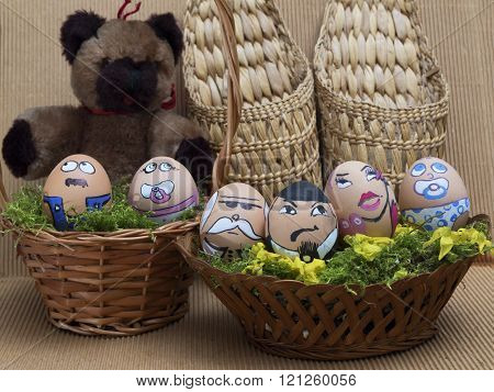 Easter  Egg Face Family In Wicker Basket