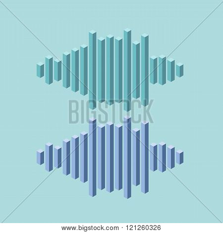 Flat isometric music wave icon made of peak lines