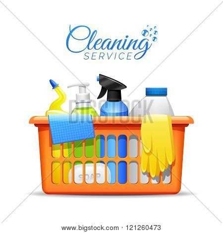 Household Cleaning Products In Basket Illustration