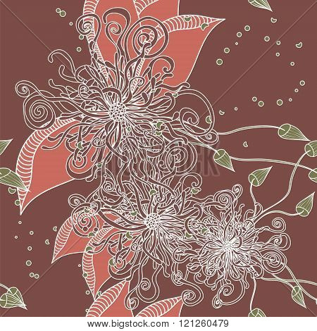 Seamless Floral Doodle Background Pattern With Leaves. Design  Zentangle. Decorative Hand Drawn.