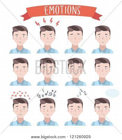 Handsome man emotions portraits