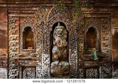 Rangda the demon queen statue in Ubud Palace, Bali