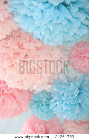 Pompons close-up, pink and blue.