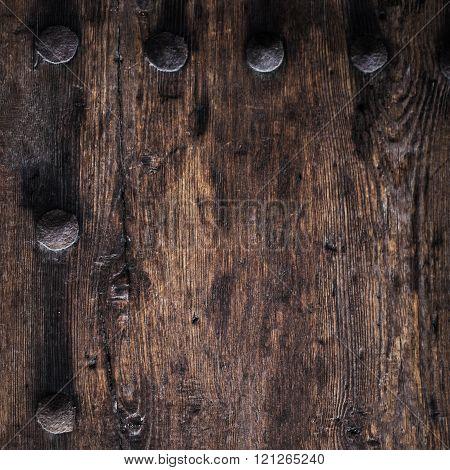 Old Wood Texture. Drk  Grunge, Vintage Wooden Board Square Image. Wooden