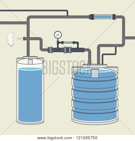 Scheme with water tank and pipes. Vector