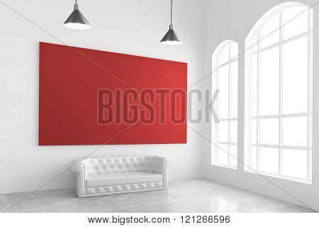 Blank Red Poster On White Wall, Sofa, Concrete Floor And Big Window, Mock Up, 3D Render