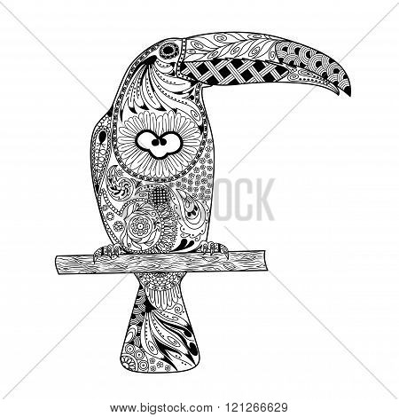 Zentangle Stylized Toucan. Hand Drawn Doodle Vector Illustration Isolated
