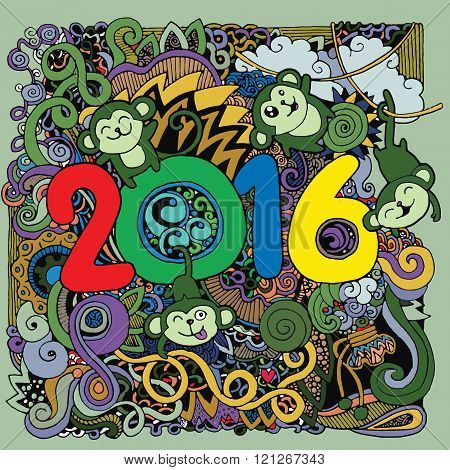 2016 New Year Doodles Elements Background.