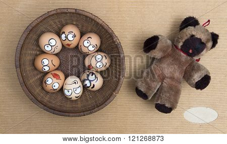 Eight Egg Face In Round Wicker Basket