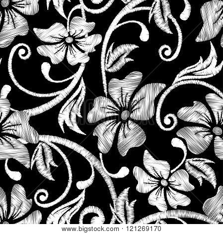 Black And White Hibiscus Tropical Embroidery Floral Seamless Pattern