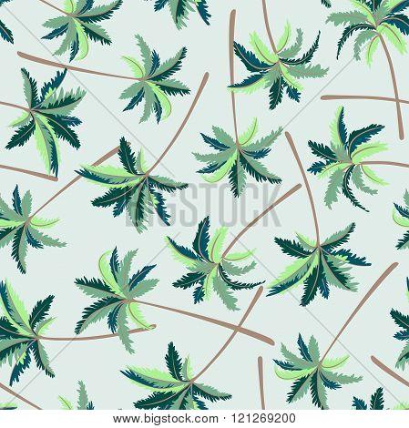 Tropical Australian Foxtail Palm Seamless Pattern
