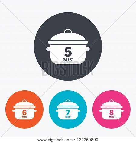 Cooking pan icons. Boil five, eight minutes.