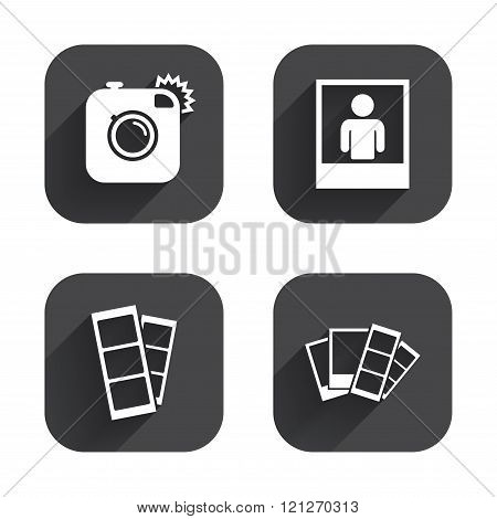 Photo camera icon. Flash light and selfie frame.