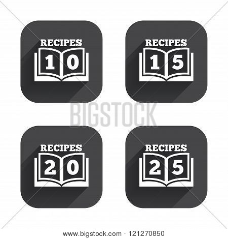 Cookbook icons. Twenty five recipes book sign.