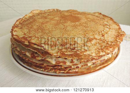 Shrove Tuesday pancakes on the table.