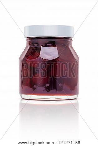 Blank Packaging Jam Glass Bottle Isolated On White Background